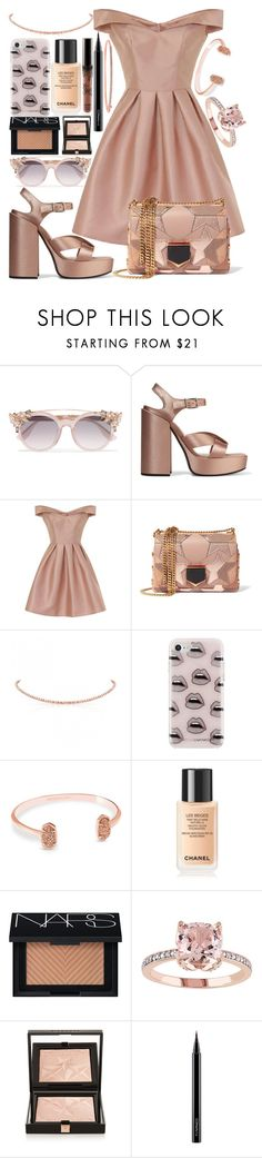 """Untitled #63"" by pink-v-ogue ❤ liked on Polyvore featuring Jimmy Choo, Jil Sander, Chi Chi, Rebecca Minkoff, Kendra Scott, Chanel, NARS Cosmetics, Givenchy, MAC Cosmetics and Anne Sisteron"