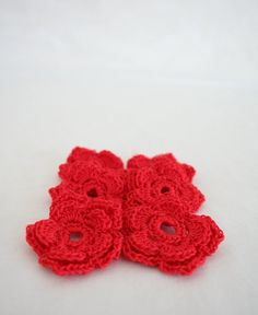 Medium Crochet Flower Applique in Red  Double by needlepointnmore