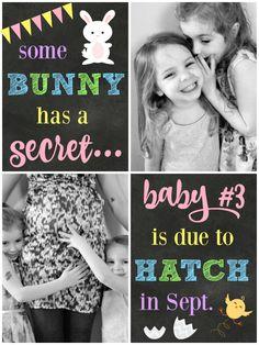 "Easter pregnancy photo announcement. ""Some bunny has a secret..."""