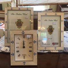 Fine Italian Wood anchor frames & clock.