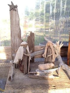 True Meaning - Nativity recreated in driftwood - by Claire. Beach Christmas, Coastal Christmas, Christmas Wood, Christmas Projects, Christmas Nativity Scene, Nativity Crafts, Christmas Crafts, Christmas Ornaments, Nativity Scenes