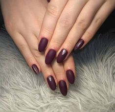 dark-red-burgundy-matte-nail-polish-cute-winter-nails-silver-glitter-decorations-on-ring-finger-and-pinky Red Glitter Nail Polish, Black Nails With Glitter, Glitter French Manicure, Gel Nails French, Gold Nails, White Nails, Silver Glitter, Neutral Nail Color, Pretty Nail Colors
