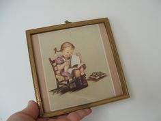 framed print---vintage---signed georganne---girl with kitten---frame shop Helena Montana by lookonmytreasures on Etsy