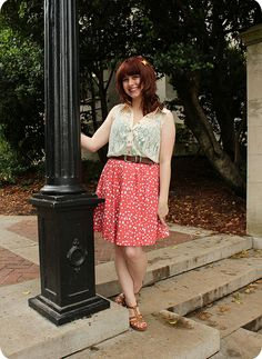 Outfit: Sleeveless Lace Top, Salmon Polka Dot Skirt, & Brown Wedges