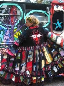 Super crazy applique butterfly crazyquilt bohemian Long Elf Coat made from recycled sweaters