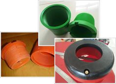 An integral inflatable thread protector and two sets of one-off thread protectors, one is orange and another is green.