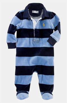 this ralph lauren velour footie is a classic look for your little man about town