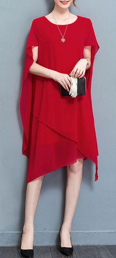 US$ 24.54 Casual Women O-Neck Cloak Chiffon Dresses
