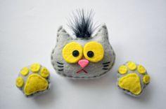 Felted fridge magnet cat gray cat cat footprint by IrraNellie, $15.00