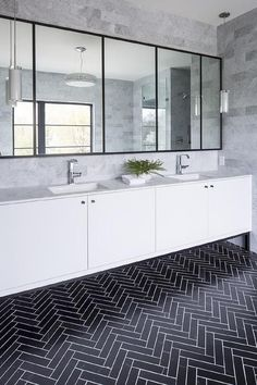 Looking for Bathroom and Double Vanity Bathroom ideas? Browse Bathroom and Double Vanity Bathroom images for decor, layout, furniture, and storage inspiration from HGTV. Bathroom Interior, Modern Bathroom, Boy Bathroom, Vanity Bathroom, Downstairs Bathroom, Wall Design, House Design, Design Design, Design Ideas