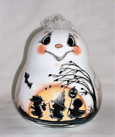 Ghost Gourd with Trick-or-Treat Kids - Hand Painted Gourd
