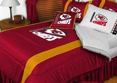 Kansas City Chiefs NFL Bedding - Sidelines Comforter and Sheet Set Combo by Sports Coverage. $103.49. This is a great Kansas City Chiefs NFL Bedding Comforter and Sheet set combination! Buy this Microfiber Sheet set with the Comforter and save off our already discounted prices. Show your team spirit with this great looking officially licensed Comforter which comes in new design with sidelines. This comforter is made from 100% Polyester Jersey Mesh - just like what th...