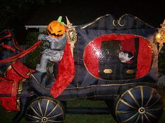 halloween airblown inflatable headless horseman stagecoach with dracula insanely rare halloween aiblown inflatable yard