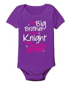 Love this Purple 'Big Brother Is My Knight' Bodysuit - Infant by Day Dream Believers on #zulily! #zulilyfinds