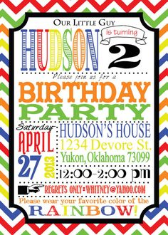 Birthday!!! Custom PRIMARY COLORS invitation First by TheWholeShebangOKC, $12.00