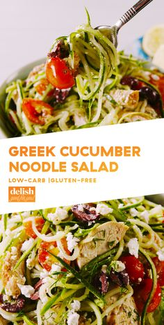 Greek Cucumber Noodle Salad with Chicken - Low Carb and Gluten Free - We Used The Coolest (Cheap) Tool To Make These Cucumber Noodles From Delish - 451 cal, protein Zoodle Recipes, Spiralizer Recipes, Salad Recipes, Juicer Recipes, Greek Recipes, Keto Recipes, Cooking Recipes, Healthy Recipes, Cheap Recipes