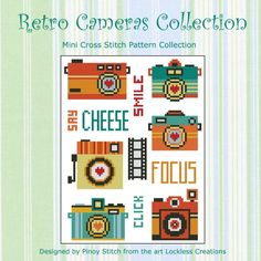 A collection of photography related cross stitch pattern. All retro in fun colors and design. Great for the photography buff!