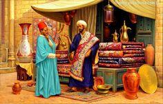 Oriental carpet market - 0,90×1,40m Oil on canvas by Edilson Elio Barbosa