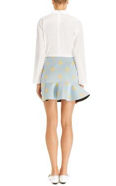 Eva Neoprene Mini Skirt in Blue/Yellow by Vivetta - Moda Operandi
