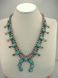 Vtg 1970s Sterling Turquoise Squash Blossom Necklace 130 Gr /  4.59 Ozs #NotSigned