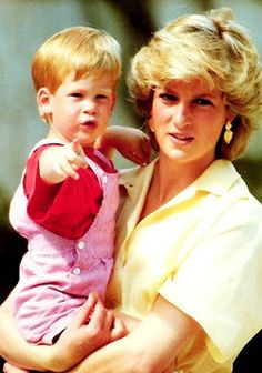 August 9, 1987: HRH Diana, Princess of Wales with her son, Prince Harry in Majorca, Spain at the Marinvent Palace on holiday.