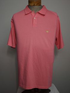 Brooks Brothers Original Fit Polo Sz XXL Salmon w Gold Fleece Logo 100% Cotton #BrooksBrothers #Polo