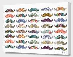 """""""Mustache Mania"""", Numbered Edition Canvas Print by Bianca Green - From $69.00 - Curioos"""