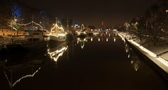 River, lights and snow. Christmas time is here.