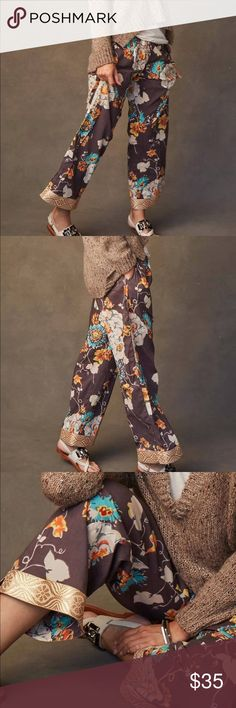 Sudara Punjammy Lounge Pants NEW WITH TAGS & IN A MATCHING BAG.  Made proudly in India by women working to remain free from sex slavery.  Perfect for meaningful gifts or for yourself!  The Leela print features dreamy white peonies blossomed across warm taupe/grey cotton.  100% cotton.  Side Pockets.  Elastic waistband with a fabric drawstring trimmed with wooden beads.  Trimmed with a border of shimmery gold.  This is a small but runs bigger.  I would suggest if you are regularly a size…