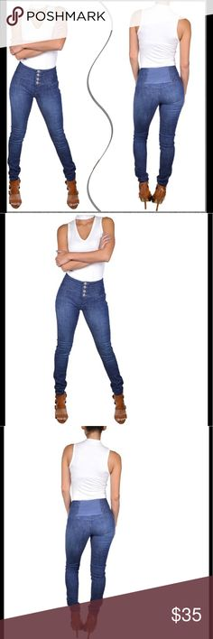 10%⬇️High waist stone wash pencil fit jeans High waist stone wash pencil fit jeans!  Spend your day in utmost style and comfort. Featuring a stone wash effect, these jeans look stunning. They have a high waist with four button closure that offers an accurate and secure fit. A blend of cotton and spandex makes them stretchable, breathable and durable. The medium blue color of these jeans lends a sophisticated look. They are finished with clean stitching lines that enhance their overall look…