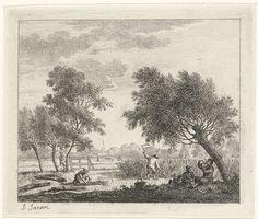 Johannes Janson | Landschap met korenoogst, Johannes Janson, 1783 | Landschap met boerin die koren bijeen bindt en een boer die koren oogst. Rechts op de voorgrond twee mannen, zittend en liggend onder een boom (aangepast ten opzichte van vorige staten). Links op de achtergrond een wandelende man. Negende prent uit een serie van dertien met maanden.