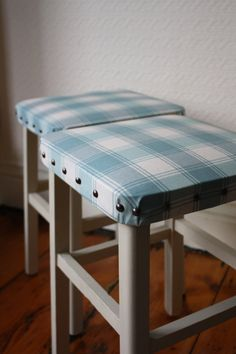 Pair of Upcycled Duck-egg Vintage Stools by ArthurandEde on Etsy £60.00