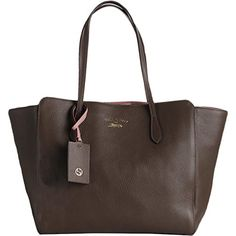2b95926ce4d8 Gucci Womens Swing Leather Pebbled Tote Handbag Taupe Medium -- Click on  the image for