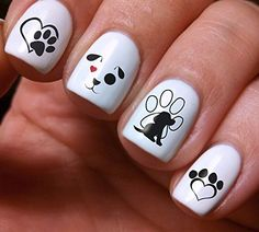 Nail Art Decals Set DIY Dogs Puppies Colorfu - Original Beauty Fashion Style High Quality Design Decoration Water Transfer- The best products for kids, teens, girls and women Dog Nail Art, Nail Art For Kids, Animal Nail Art, Dog Nails, Animal Nail Designs, Cute Acrylic Nails, Cute Nails, Paw Print Nails, Nagellack Design