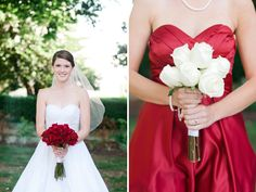 red bouquet- white dress, red bridesmaid dress- white bouquet. Maybe not these colors but I like the idea