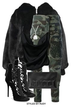 """""""Untitled #993"""" by styledbyrudy ❤ liked on Polyvore featuring Versace, Faith Connexion and Gucci"""
