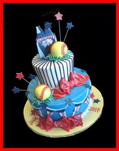 softball cake. http://@Maranda Carvell Carvell Guidry why didnt we get one of these in high school??