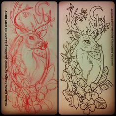 For tomorrow!! Back of forearm :) Very excited!!  #deer #bluebells #primroses #bleedinghearts #tattoo #tattoos #sketch #process