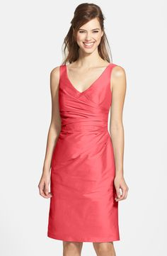 Alfred Sung Satin Side Pleat Satin Sheath Dress