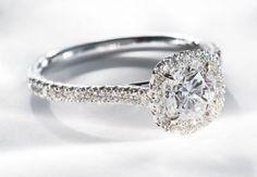 18K white gold halo diamond engagement ring setting.  igorman.com