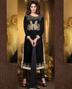 Black long suit with golden border   1. Black embroidered velvet suit2. Golden embroidered yoke3. Golden embroidered floral motif above border4. Comes with matching bottom and dupatta5. Can be stitched upto size 42  inches