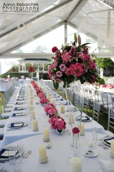 pink floral centrepiece designed by Celebrations in Grand Cayman