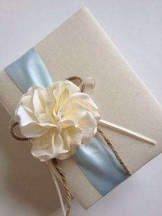 Rustic Wedding Photo Album - Cream Ivory Hydrangeas - Light Blue Ribbon - Handmade by CoutureLife on Etsy https://www.etsy.com/listing/156644278/rustic-wedding-photo-album-cream-ivory