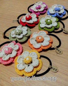 youngladieshome: Flower Crochet Hair  rubber