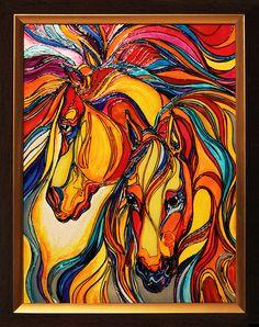 """""""Радужные кони"""" Роспись по стеклу витражными красками."""