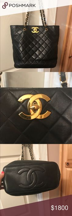 Chanel tote Black,w/ gold chains 1000% authentic Wonderful condition as you see in the pictures.  Super chic, elegant, but versatile bag. Can be worn casual or formal.  It's a good size bag, the size is comparable to a Louis Vuitton nverful, except it's a few inches small in Length.  The codes in the bag has been scrapped of accidentally, maybe from something I had in the bag but one day I was looking for it and I didn't see it.  Just the adhesive marking left.  Otherwise 1000% authentic SO…