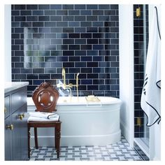 """Amy Morris on Instagram: """"Deep blues & high contrast in this handsome Husband's Bath 