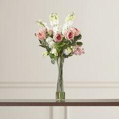 Found it at Wayfair - Rose, Delphinium and Lilac Silk Floral Arrangements in Pink