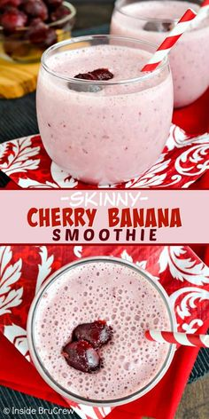 Healthy Smoothies Recipe Skinny Cherry Banana Smoothie - this pretty pink smoothie is loaded with protein and will keep you full longer in the day. Great recipe to make when you are eating healthy! Smoothie Fruit, Cherry Smoothie, Smoothie Recipes, Smoothie Diet, Pink Smoothie Recipe, Protein Recipes, Smoothie Drinks, Juice Recipes, Vitamins