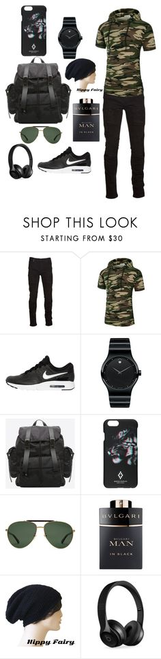 """""""#Man's"""" by sinanovicasja ❤ liked on Polyvore featuring Marcelo Burlon, NIKE, Movado, Gucci, Bulgari and Beats by Dr. Dre"""